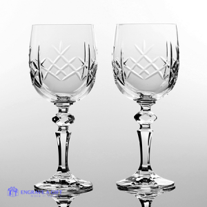 pair lead crystal wine glasses with panel for engraving personalised message