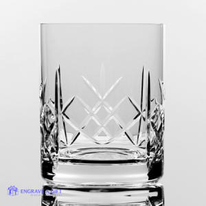 lead crystal whisky tumbler with cross cut pattern and a panel for engraving