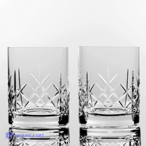 traditional lead cut crystal whisky tumblers with panel for engraving personal message