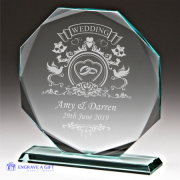 personalised octagonal jade glass wedding plaque