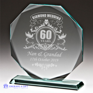 personalised diamond wedding glass plaque