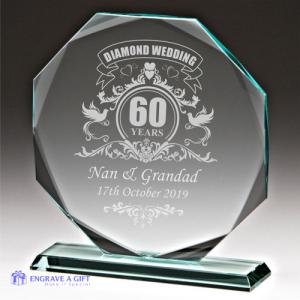 personalised diamond wedding glass plaque